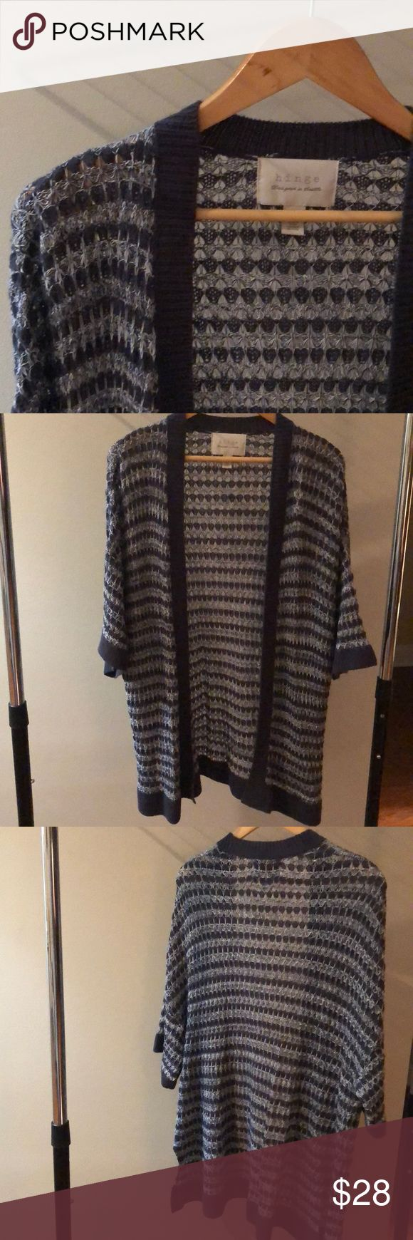 Hinge Blue and White Cardigan EUC only worn a few times. This short sleeved long Cardigan is not for staying warm, but for a stylish layering look when the weather turns warm. hinge Sweaters Cardigans