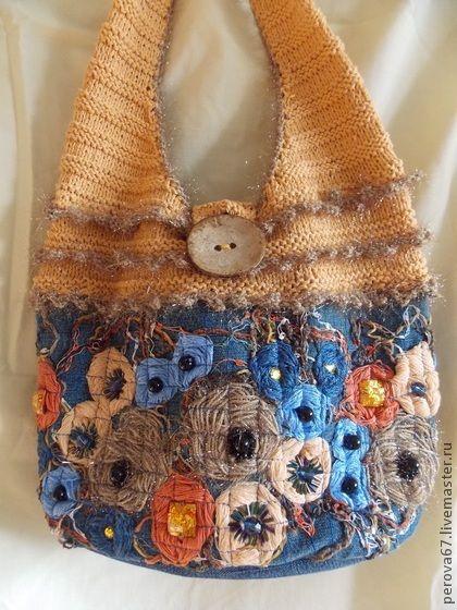 Сумка джинсовая в технике крейзи вул Рыженькая - оранжевый,цветочный,сумка