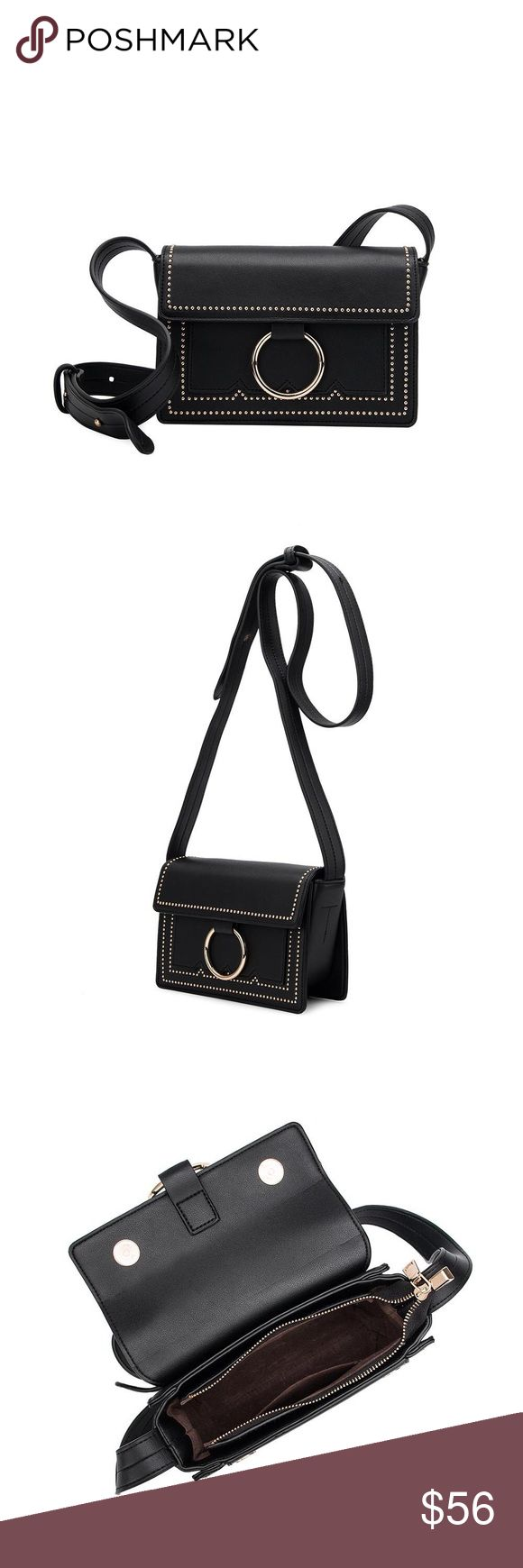 "Cherie Mini Studded Crossbody Melie Bianco  Premium Vegan Leather Fold Over Snap Closure Middle Zipper Front Slim Pockets Interior Zipper Pocket Dimensions: 8.5""L x 6""H x 3""W Colors: Black Melie Bianco Bags Crossbody Bags"