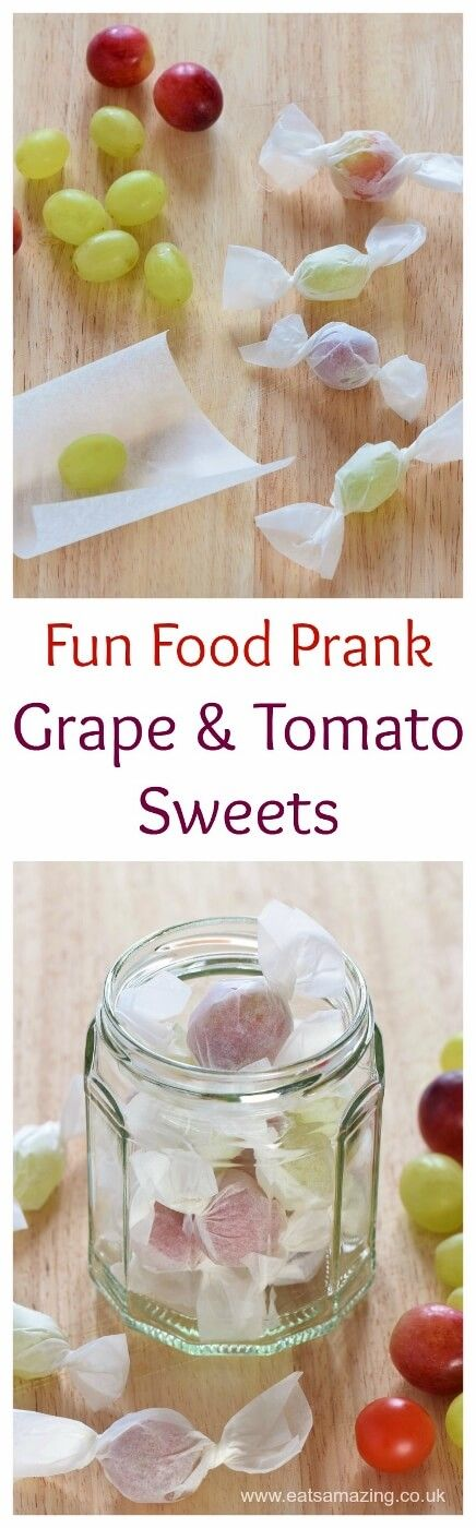 Fun food prank for kids - grape and tomato sweets - cute idea for party food snacks lunch boxes and April fools day too - Eats Amazing UK