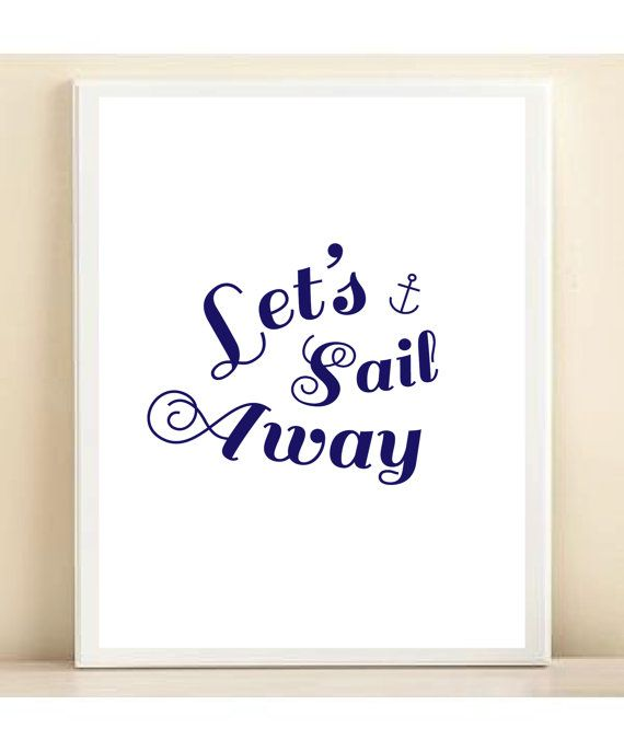 Navy and White 'Let's Sail Away' Nautical by AmandaCatherineDes, $15.00