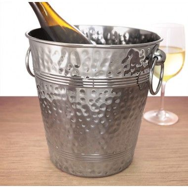 Stainless Steel Hammered Ice Bucket and Stand