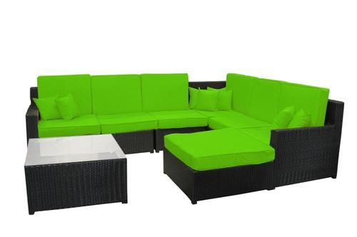 8-Piece Black Resin Wicker Outdoor Furniture Sectional Sofa Table and Ottoman Set - Lime Green Cushions
