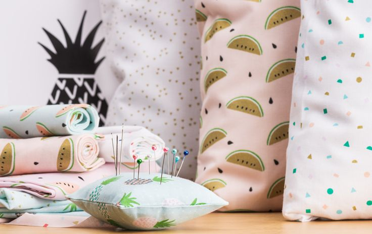Stoffe mit Tropical Spring Prints #Rico Design #Tropical Spring #nähen #sewing #Stoffe #Ananas #Melone #Flamingo