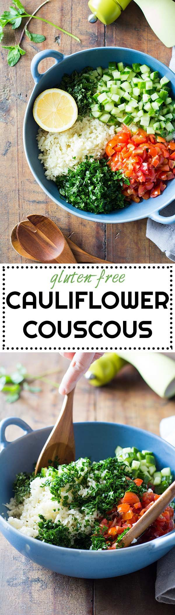 A gluten-free version of my beloved Lebanese tabbouleh: Cauliflower Couscous. An extraordinary way to add in more veggies into your diet and spice them up in a delicious way. via /greenhealthycoo/