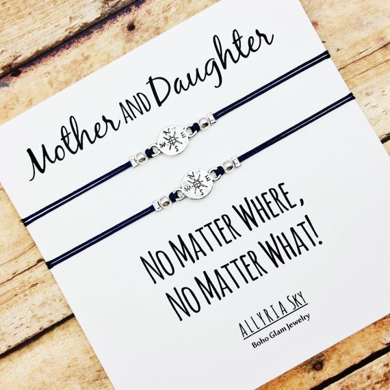 Mother Daughter Compass Bracelet Set with No Matter by AllyriaSky