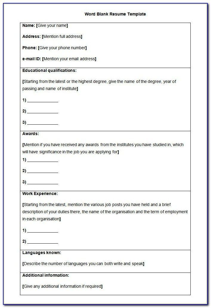 Blank Resume Form For Job Application Download In 2020 Job Application Resume Form Resume