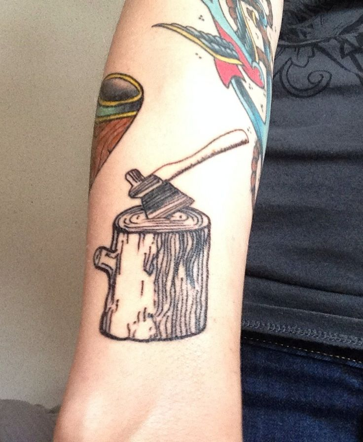 Log and axe done on me by Louis Gurke. | TaTToo | Tattoos, Axe