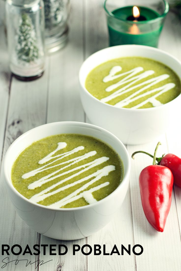 Warm your soul with this soothing, yet slightly spicy roasted poblano soup, garnished with a generous drizzle of crema for good measure! #GladeHolidayMood #shop