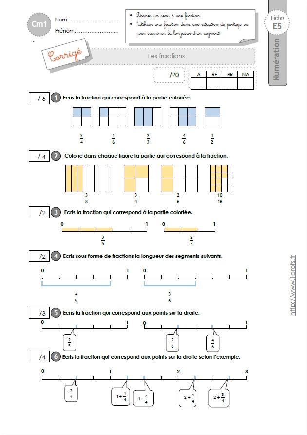CM1: EVALUATION Les fractions   Evaluation cm1, Fractions ...