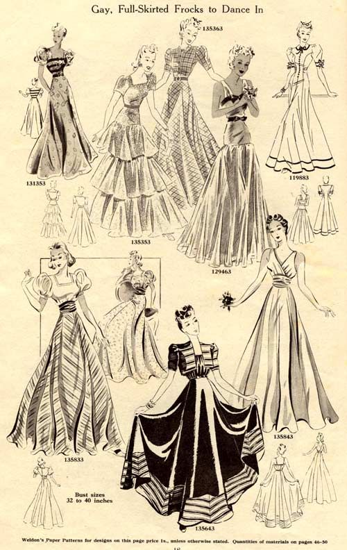 Evening gowns from Weldons Catalogue of Fashions Autumn Winter 1939-40
