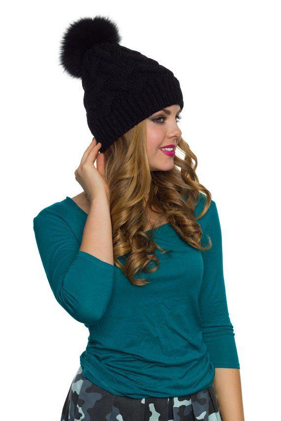 c4b773965d9 Black pom pom beanie Black pom winter hat Womens black pom pom ...