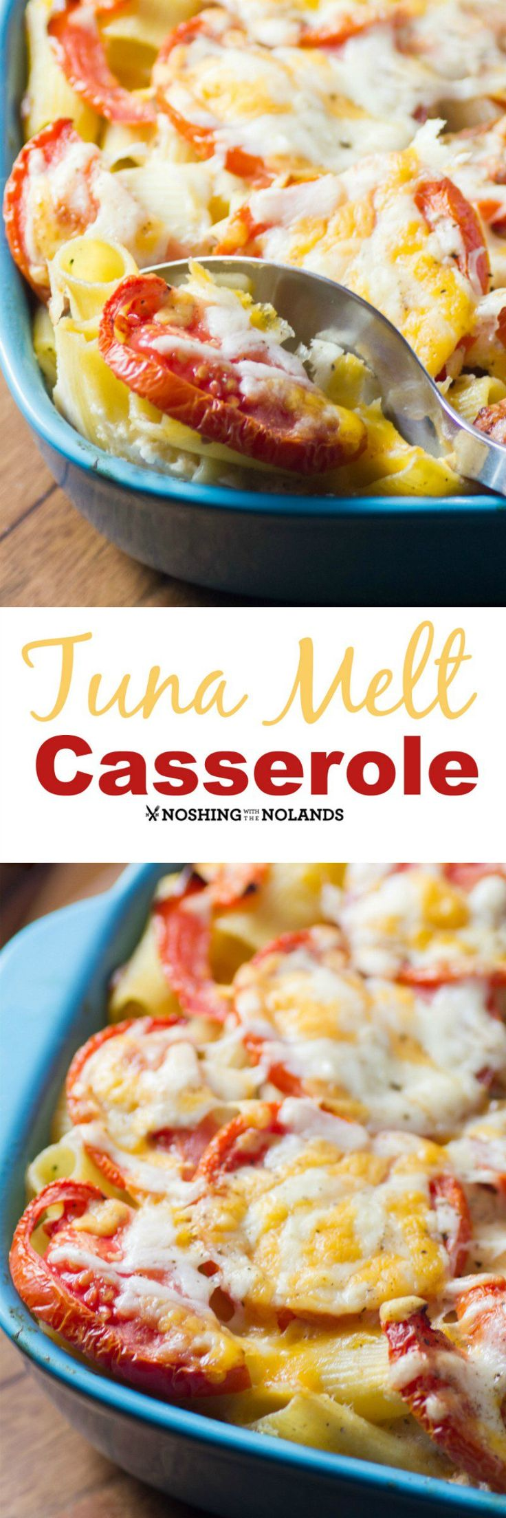 Best Tuna Melt Casserole by Noshing With The Nolands will be a true family favorite. Cheesy  tuna pasta with lots of fresh tomatoes and broccoli.: