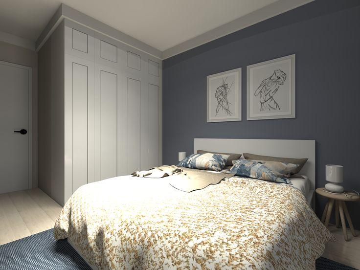 Mieszkanie prywatne. Sypialnia w błękitach i beżach. Projekt i wizualizacje: ArteCubo, Wrocław. #Livingroom #kitchen #interior #design #modern #bedroom #monochromatic #wood #black #board #beige #grey #blue #wroclaw #artecubo