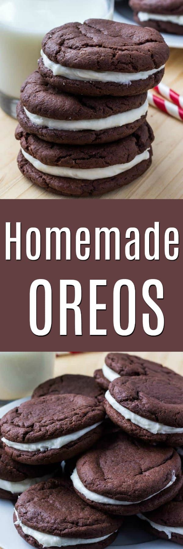 homemade Oreos. They're soft and chewy with cream cheese frosting, insanely delicious, and super easy to make because we're using cake mix.