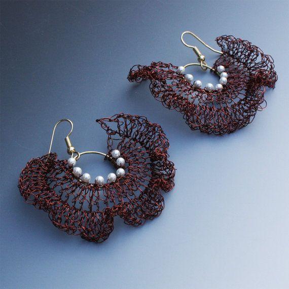 Crocheted Wire Bolero Earrings In Brown by Aliona K on Etsy