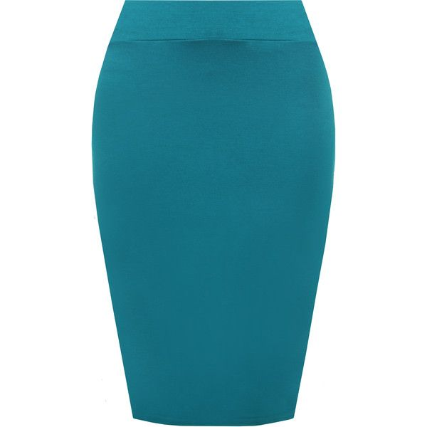 WearAll Basic Bodycon High Waisted Pencil Midi Skirt ($10) ❤ liked on Polyvore featuring skirts, teal, high-waist skirt, high waisted bodycon skirt, blue midi skirt, pencil skirts and high waist knee length pencil skirt