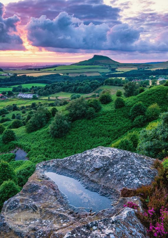 North York Moors Landscape Photography Roseberry Topping Heather Countryside England Landscape Photo Mounted Print Wall Art In 2020 Nature Beautiful Places North Yorkshire