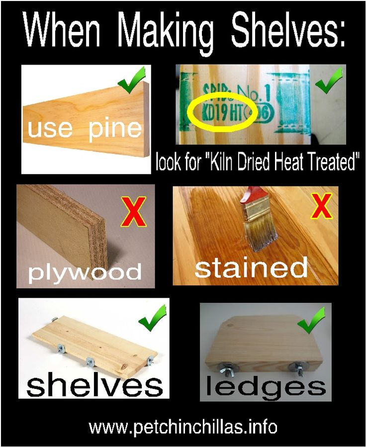 Chinchilla cage shelves: no plastic, no plywood, no wire, no wood stains. Use kiln dried pine or poplar.