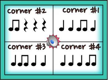 4 Corners PPT game for Music Class, Ta, ti-ti, Z Standard & Stick