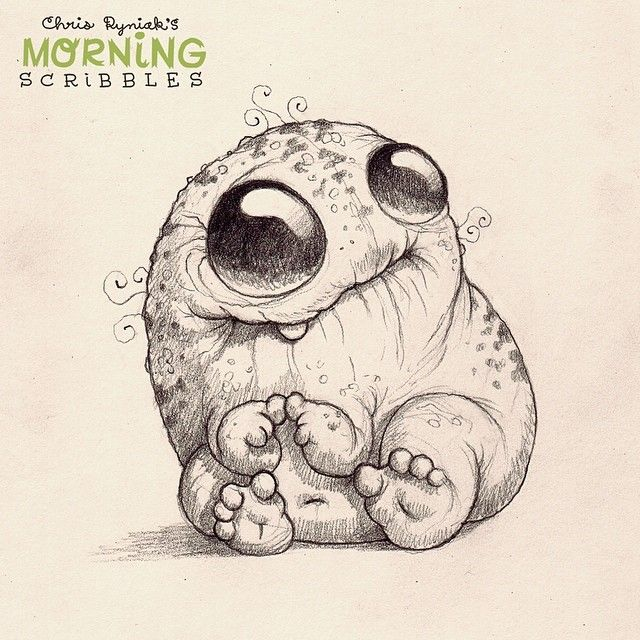 Artist Chris Ryniak. Cute critters and monsters creator. Omg! We should get cute little monster tatoos! And have the tattoo artist make one that is original so no one has one like ours! :)