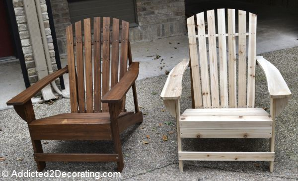 Home Depot unfinished adirondack chairs for $36 with wood stain and sealer!