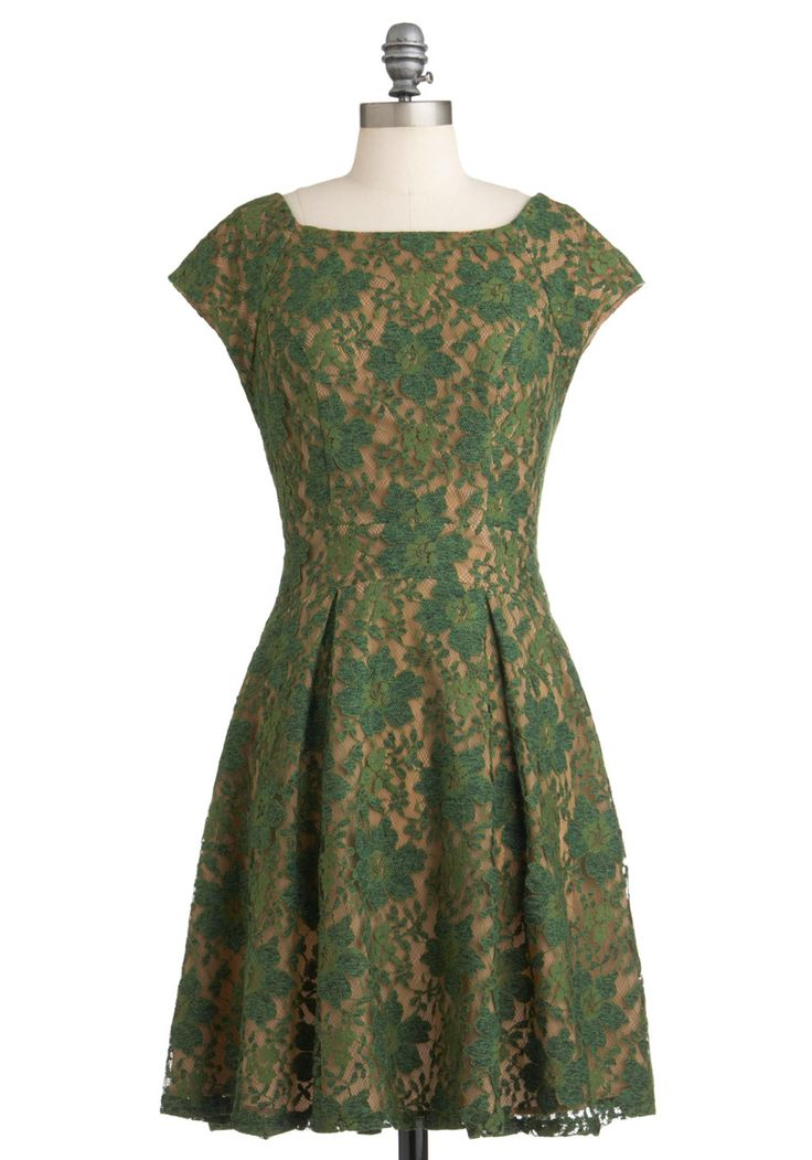 Evergreen and Anon Dress by Eva Franco - Green, Tan / Cream, Lace, Party, A-line, Sleeveless, Fall, Mid-length, Holiday, French / Victorian