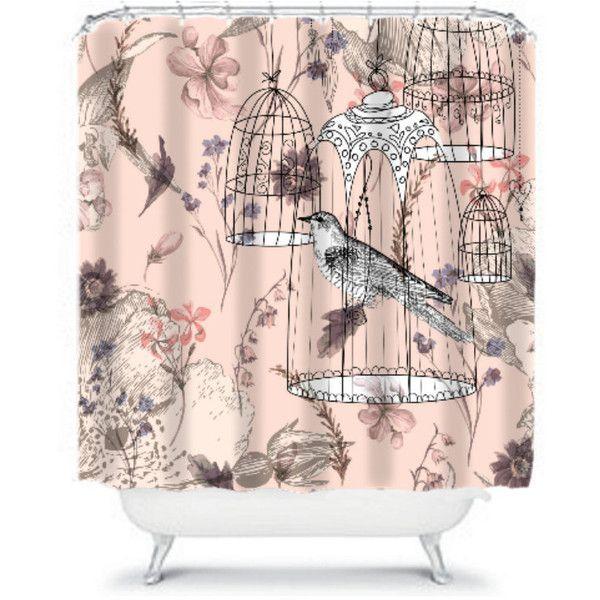 Victorian Shabby Shower Curtain Vintage Inspired Floral Bird Bird... (80  CAD)