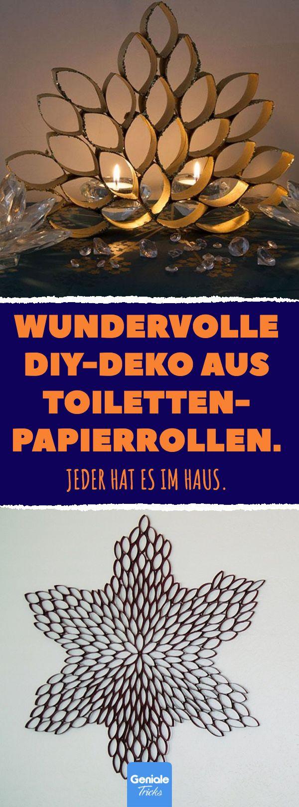Schöne Wanddekoration aus Toilettenpapierrollen. #upcycling #diy #klopapier #toilettenpapie …