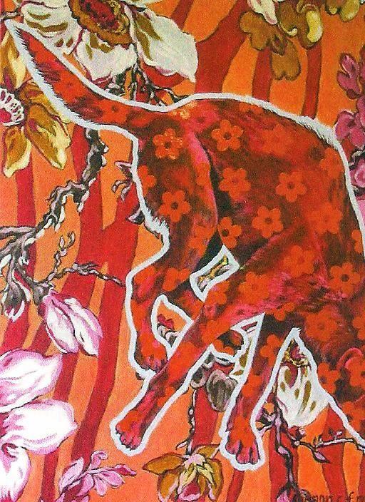 "Nanon Morsink. ""De rode hond"". Acryl on canvas (100 x 120 cm)."
