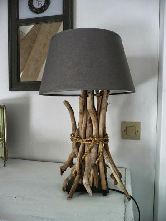 Lampe flotté table basse en bois flotté déco naturelle: