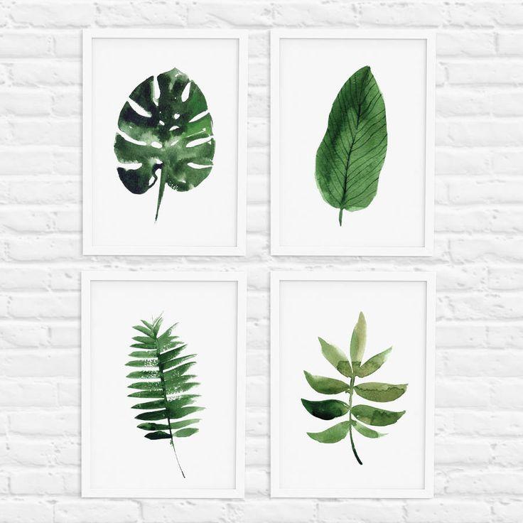 Tropical Leaf Print Set Of Four Illustration Home