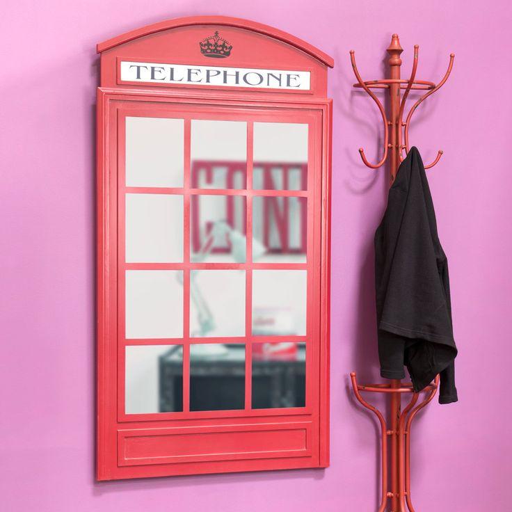 Specchio rosso in legno H 140 cm CABINE UK