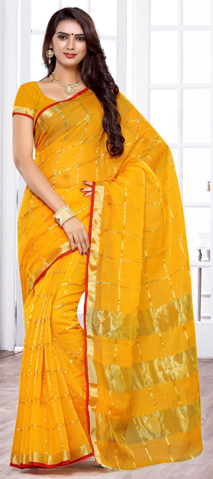 744575: Yellow  color family Party Wear Sarees   with matching unstitched blouse.