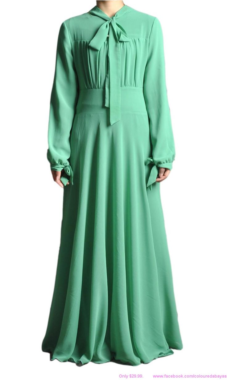 "Mint Green, long sleeve maxi dress. $37.99. Enter the code ""ColouredAbaya"" at checkout for free shipping worldwide. Modest dress.  Coloured Abaya. #Maxi #Maxidress #Longsleevemaxidress #Modestfashion #Modesty #Modestclothing #Hijabfashion"