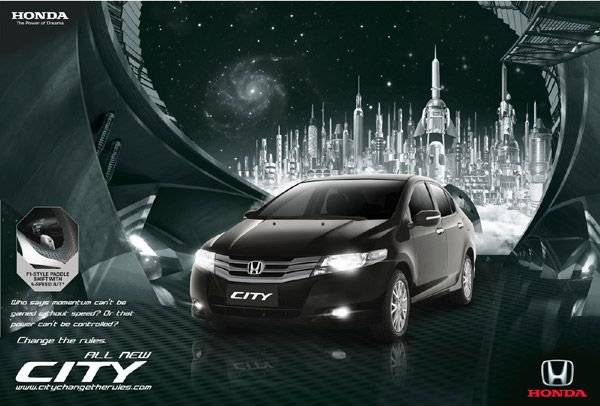 This is an advertising of Honda Civic. The new style car is on the center of the poster, and diamond building is the background. We can realize that the point of this advertising is the car.    http://www.jorymon.com/ads/honda-city-2009-new-ads-change-the-rules/