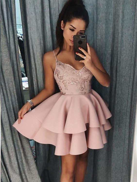 f1d997b3df08 Spaghetti Strap Shinny Mini Homecoming Dresses Chic Summer Hoco Dress  ARD1544