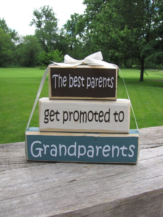 """Pregnancy Announcement. Wood Block Stack:""""The Best Parents Get Promoted to Grandparents"""" - Pregnancy announcement. GIft for Grandpa, Grandma..."""