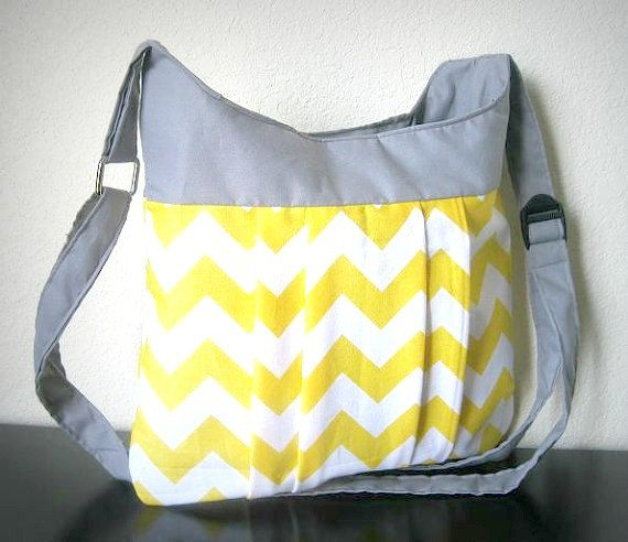 Yellow Chevron bag  Crossover shoulder Chevron bag / by BolderBags