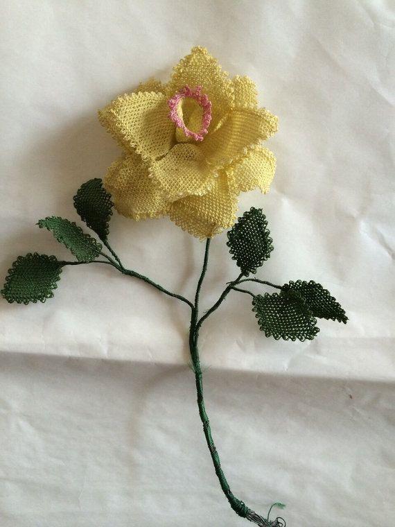custom ordered needle lace flower