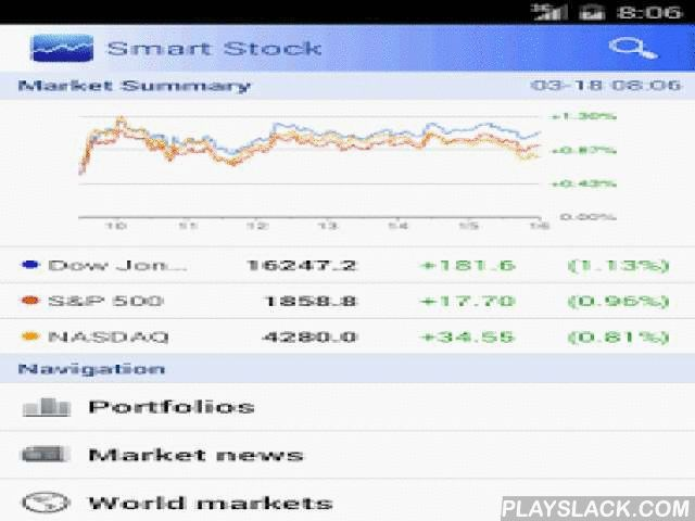 Smart Stock - Stocks Quotes  Android App - playslack.com ,  ★ Best FREE stocks tracking tool with world-wide markets.★ Universal app support Tablet/Pad, for example, Nexus 7, Galaxy Tab, etc.★ Android 5.0 Lollipop support with Material design.=== Features ===√ World-wide markets sync with Google.√ Up-to-date realtime stock data√ A stock tracker with multiple portfolios√ Sortable symbol lists: Sort by ticker symbol or stock price percentage change.√ Colorful widgets√ Alerts, set price…