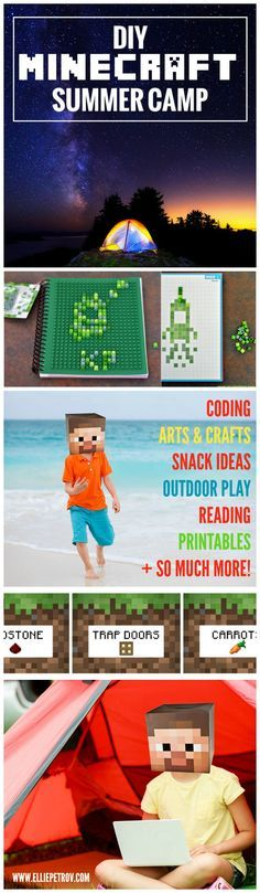 DIY Minecraft Summer Camp: Don't feel like shelling out the big bucks for Minecraft camp this summer vacation? Host your own DIY Minecraft Camp! Coding, crafts, outdoor activities, snack and lunch ideas + more!