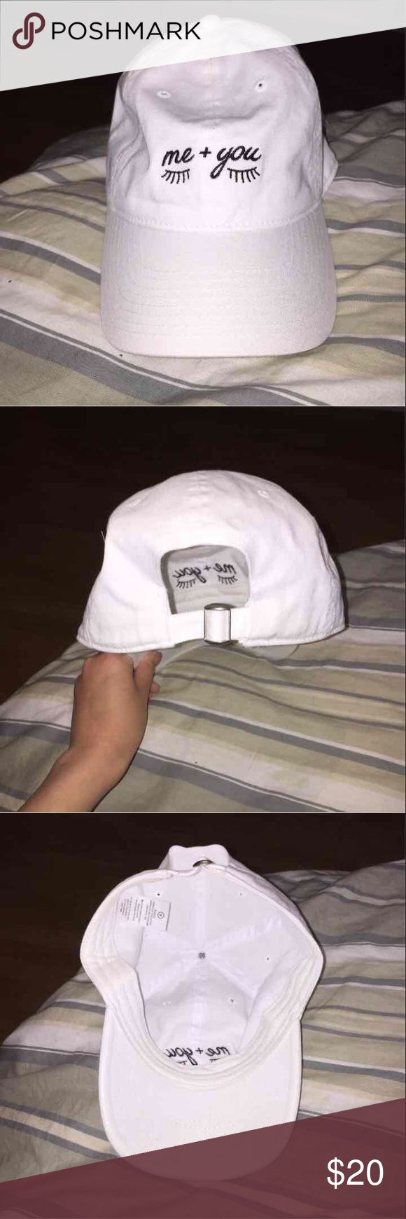 Me + you eyelash hat White dad hat with super cute me + you eyelashes graphic, with adjustable strap Accessories Hats