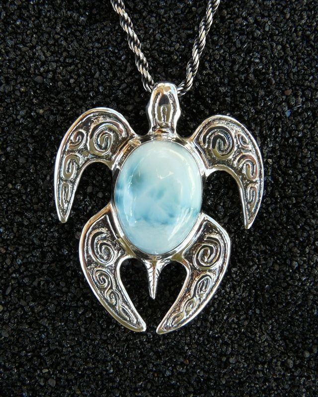Spirit Honu Nui (large) Pendant-Larimar - OH-SO-BEAUTIFUL Natural Caribbean Blue Larimar Gemstone & Sterling Silver Honu Pendant w/ Chain, Sculptural Jewelry Art, Handmade in Hawaii, Gift Boxed