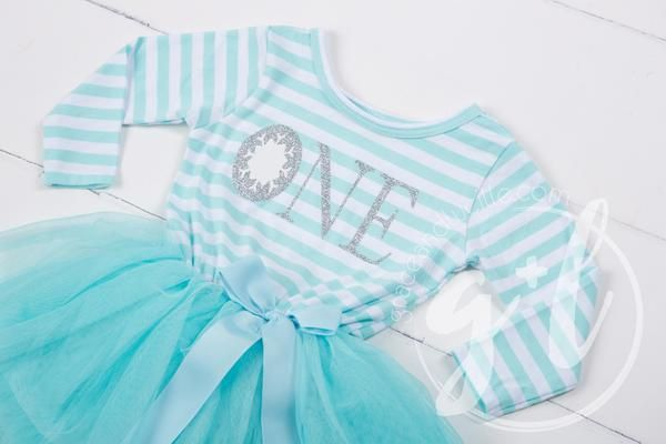 "Winter Wonderland Snowflake Birthday Dress ""HER AGE"" Aqua Striped Long Sleeves"