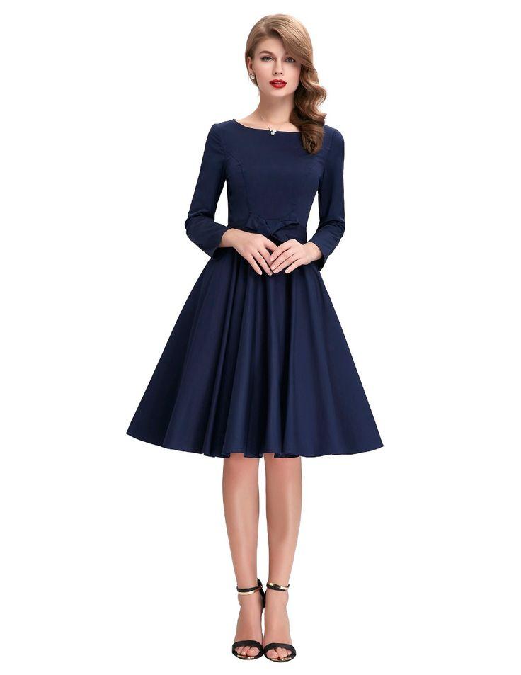 Vintage Long Sleeve Retro Swing Dress