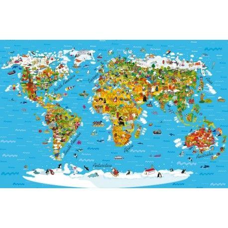 Fototapet - Harta Lumii pentru copii (360x254cm)