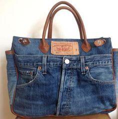 Jeans recycelt als Tasche