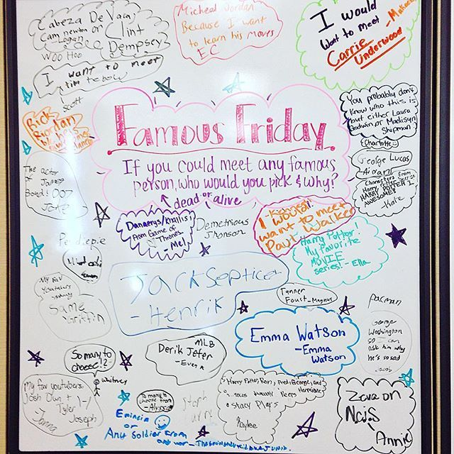 Famous Friday! ⭐️Yes, I have a student named Emma Watson. #5thgradeinfloridaswhiteboard #iteach5th #iteach345 #iteach456 #floridateachers #miss5thswhiteboard