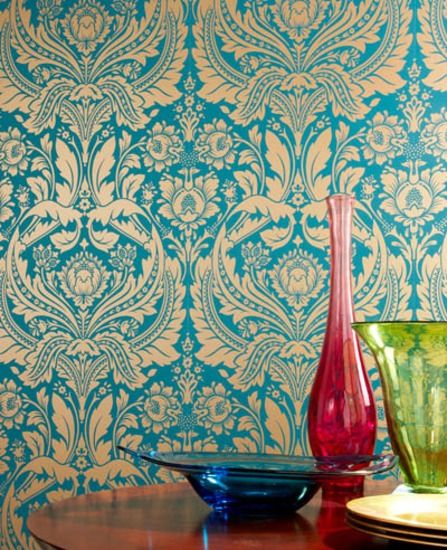 I'm seriously considering this paper for the breakfast nook. Desire: Teal Wallpaper from www.grahambrown.com